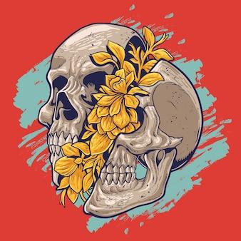 Blume im schädel Premium Vektoren