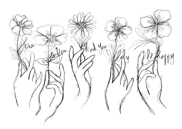 Blume in der hand zeichnen und skizzieren schwarz-weiß