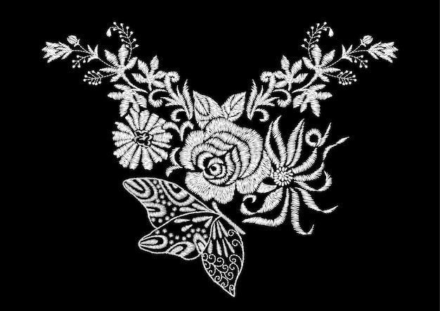 Blume mit rosen- und schmetterlings-stickerei