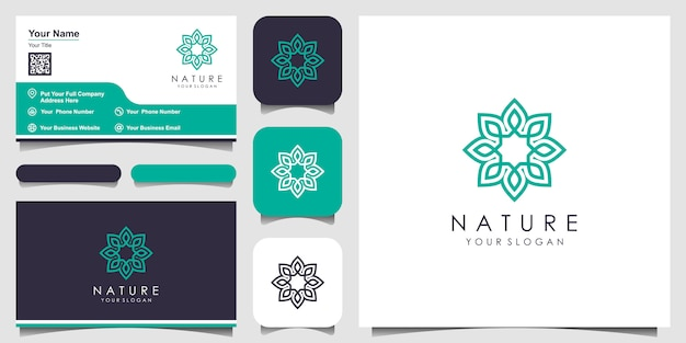 Blume mit strichgrafikstil. logos können für spa, schönheitssalon, dekoration, boutique verwendet werden. visitenkarte