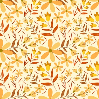 Blume orange und gelb nahtloses muster premium illustration