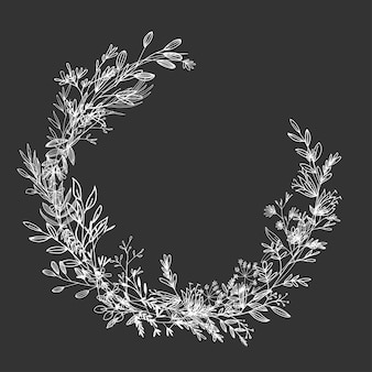 Blume runder rahmen blumenvorlage strichzeichnungen