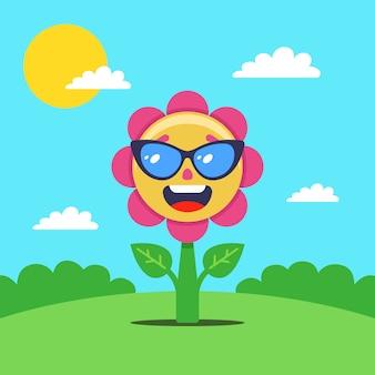 Blume sonnenbäder auf einer lichtung. eine freudige pflanze in gläsern. flache illustration.
