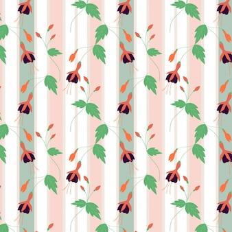 Blume und blatt auf linie nahtloses muster