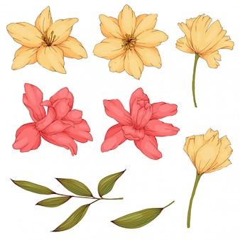 Blume und blatt im vintage-stil