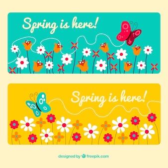 Blume und schmetterling-banner