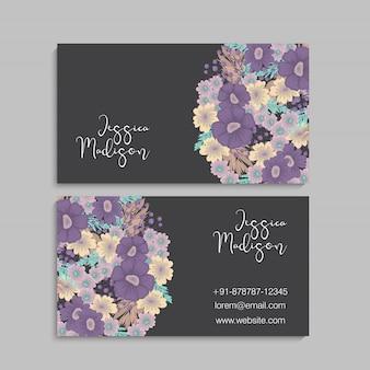 Blume visitenkarten lila blumen