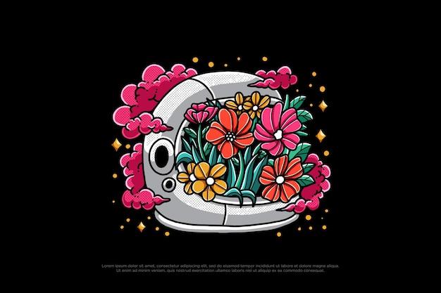 Blumen-astronauten-helm-design-illustration