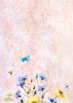 Blumen auf einer pastellleinwand