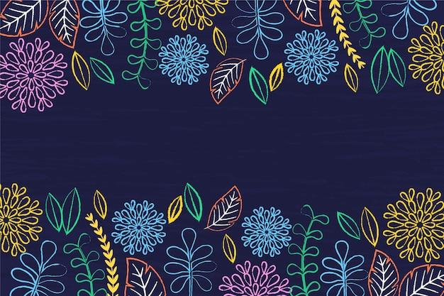 Blumen auf handgezeichnetem hintergrund der tafel