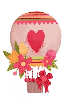 Blumen auf heißluftballon, valentinstagausflug