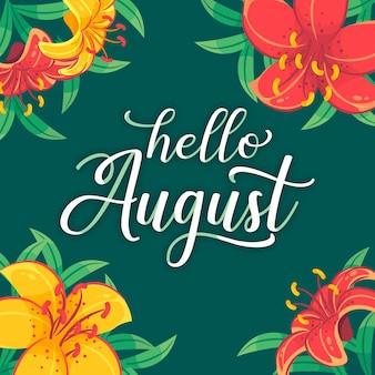 Blumen august schriftzug