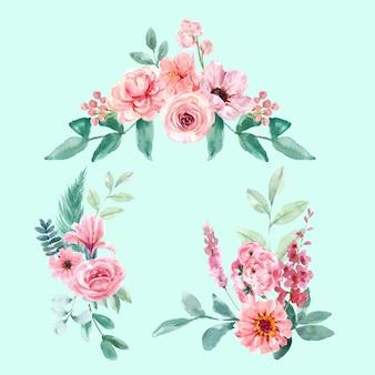 Blumen bezaubernder blumenstrauß des retro-stils mit vintage-blumenaquarellillustration.