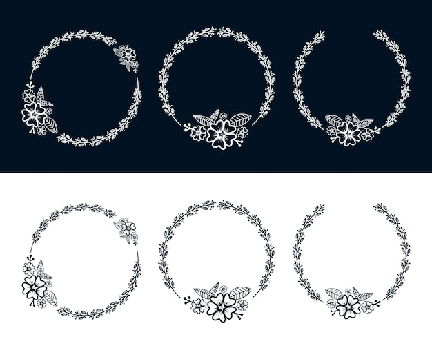 Blumen botanischer weiblicher kranzrahmen mit blumendekoration für logo