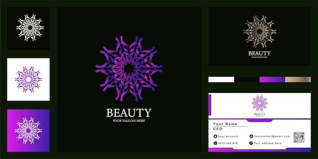Blumen-, boutique- oder ornament-luxus-logo-vorlagendesign mit visitenkarte.