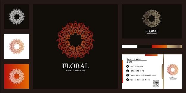 Blumen-, boutique- oder ornament-luxus-logo-vorlagendesign mit visitenkarte. Premium Vektoren