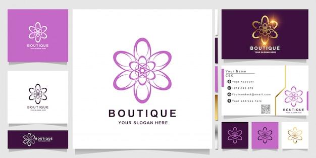 Blumen-, boutique- oder verzierungslogoschablone mit visitenkartenentwurf.