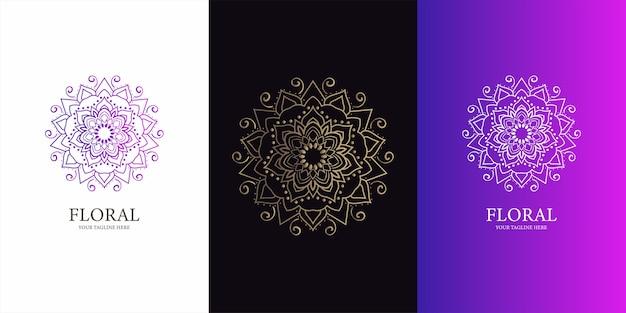Blumen-, boutique- oder verzierungslogoschablonenentwurf.