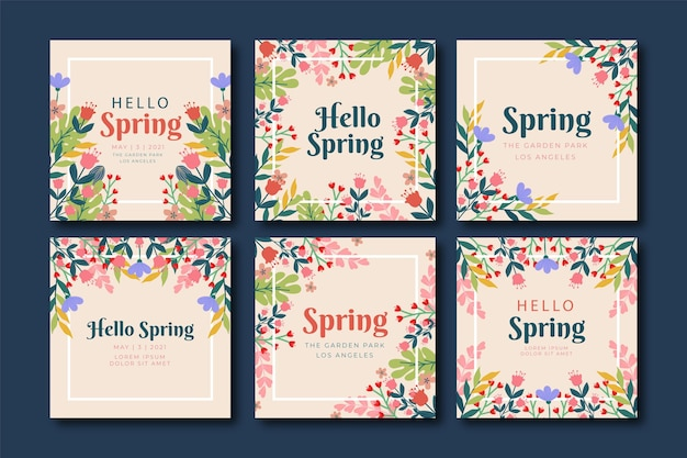 Blumen bunter schöner rahmen instagram post