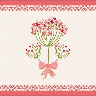 Blumen entwerfen über rosa hintergrundvektorillustration