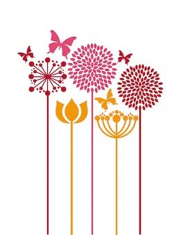 Blumen entwerfen über weißer hintergrundvektorillustration