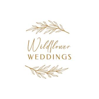 Blumen-eukalyptus-etikett für das paket. wildflower lineare logoskizze. blumenkranz-emblem-hochzeitsdesign. umreißen sie vintage-kräuter im modernen einfachen stil. vektorillustration lokalisiert auf weißem hintergrund.