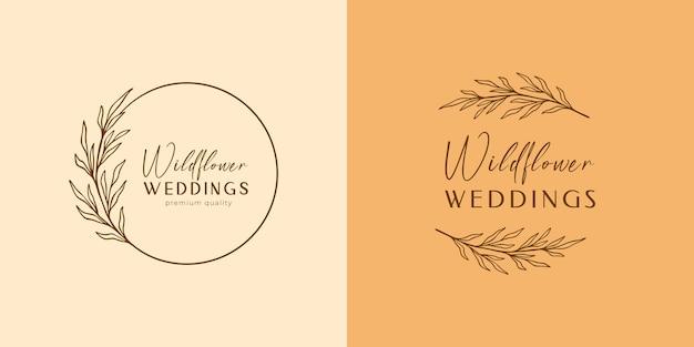 Blumen-eukalyptus-etikettenset, paket. wildflower lineare logoskizze. blumenkranz-emblem-hochzeitsdesign. umreißen sie vintage-kräuter im modernen einfachen stil. vektor-illustration auf hintergrund isoliert