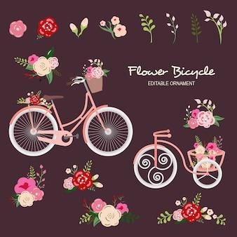 Blumen-fahrrad-bearbeitbare verzierung