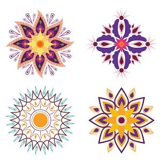 Blumen florale mandalas hinduistische kultur traditionelle dekorationsikonen