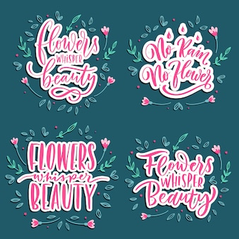 Blumen flüstern schönheit - satz handbeschriftung.