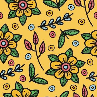 Blumen gekritzel nahtloses muster