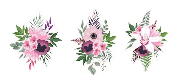 Blumen gesetzt. bunte blumensammlung mit blättern und blüten. blumenstrauß.