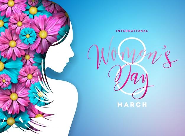 Blumen-gruß-karten-design der glücklichen frauen tages. weibliche feiertags-illustration