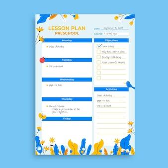 Blumen-handgezeichneter vorschullehrer-unterrichtsplan