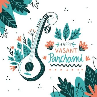 Blumen handgezeichnetes musikinstrument vasant panchami