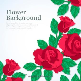 Blumen hintergrund mit roten rosen