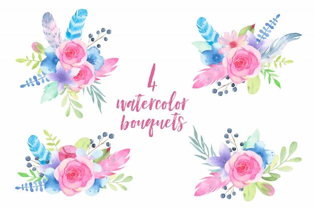 Blumen-hochzeitsblumenstrauß des aquarells handgemalter mit den federn und blättern lokalisiert auf weiß