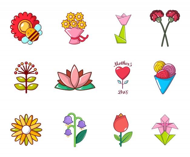 Blumen-icon-set. karikatursatz blumenvektorikonen eingestellt lokalisiert