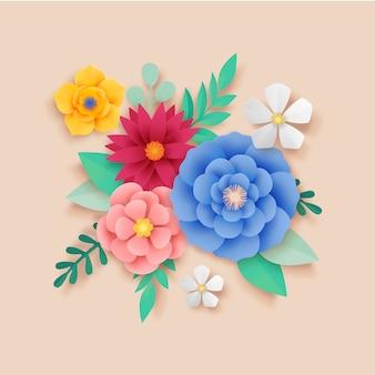 Blumen im 2d-farbverlauf-papierstil