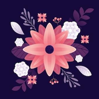 Blumen im 2d-farbverlaufspapierstil