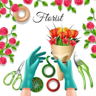 Blumen im bündel mit floristenausrüstung und werkzeugtulpe und -rose