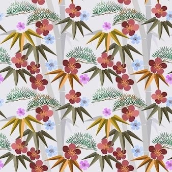 Blumen im chinesischen stil mit nahtlosem bambusmuster.