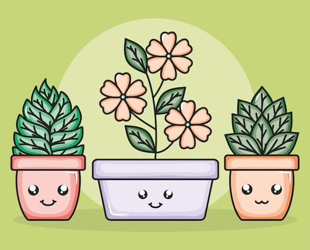 Blumen im keramiktopf kawaii charaktere