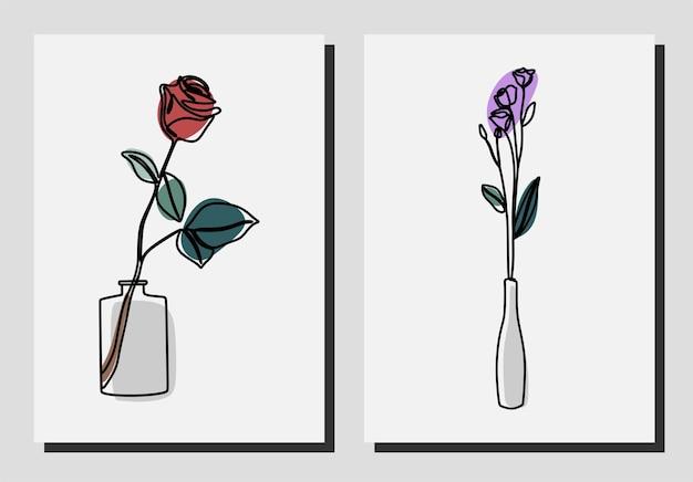 Blumen in einer vase einzeilige kontinuierliche linie kunstset premium-vektor