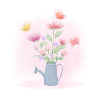 Blumen innerhalb der gießkanne und der gezeichneten illustration der schmetterlinge