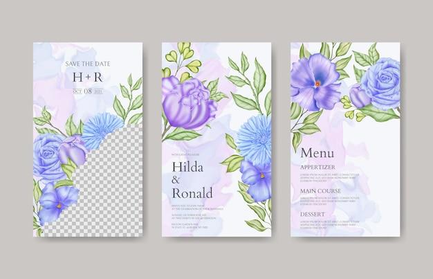 Blumen-instagram-geschichten-sammlung für hochzeitseinladungsvorlage