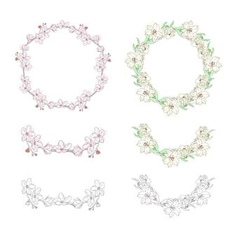 Blumen-kranz-sammlungs-verzierungs-element-hand gezeichnet