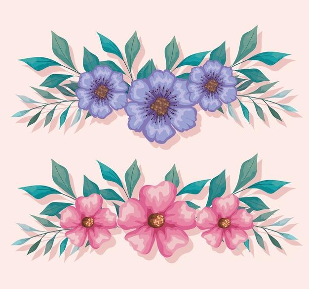 Blumen lila und rosa mit blattmalerei, natürlicher blumennaturpflanzenverzierungsgartendekoration und botanikthemaillustration