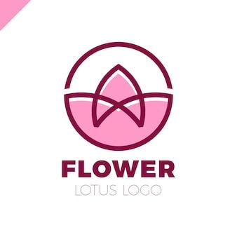 Blumen-logo-kreiszusammenfassungsdesign-vektorschablone. lotus spa-symbol. kosmetik hotel garten schönheitssalon logotype-konzept.