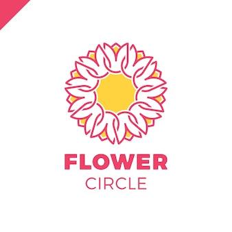 Blumen-logo-kreiszusammenfassungsdesign-vektorschablone. tulip spa-symbol. kosmetik hotel garten schönheitssalon logo-konzept.